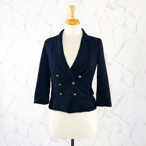 Anthropologie Coquille Cropped Navy Blue Blazer